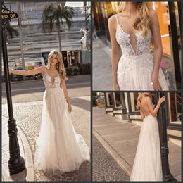 $enCountryForm.capitalKeyWord Australia - 2019 New Sexy Plunging V Neck Beach A Line Wedding Dresses Muse by Berta Backless Lace Appliqued Bridal Gowns Country Boho Wedding Dress2018
