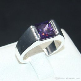 boys sterling silver rings NZ - Men's Eternity 925 Silver Square Purple Diamond Simulated Zircon Stone Solitaire Cocktail Rings Engagement Anniversary Band Jewelry boy