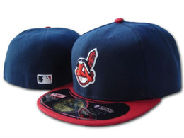black baseball caps 2018 - 2018 Men's Indian on field fitted hat flat Brim embroiered character team logo fans baseball Hats size Indians full