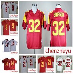 0852480f5 USC Trojans 9 JuJu Smith-Schuster Jersey Men College Football 14 Sam  Darnold 21 Adoree Jackson 32 OJ Simpson Stitched Red White jerseys