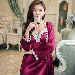 42a424c726 Women Silk Nightdress 2 pcs set of Robe   Padded Nightgown Lady Nightwear  Female Pijamas Sexy Lingerie Sleepwear 2018 Summer