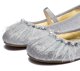 China New girls shoes princess soft bottom silver feather children dance single shoes performance children flat shoes suppliers