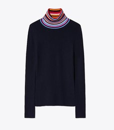 China 2018 America Lady Women Turtle Neck Sweaters Striped Knit Top MSO15 Tbouch Fall Autumn Sweater suppliers