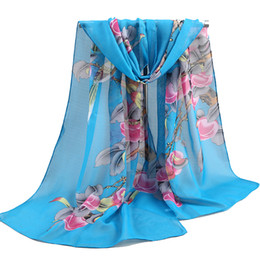 Yellow Muffler UK - 2018 new fashion style Scarves women's scarf long Polyester shawl spring cape silk chiffon tippet muffler magpie
