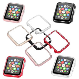Wholesale 5 Colors Luxury Bling Crystal Metal Cover for Apple Watch Case Diamond Watch Cover for iWatch Series Case mm mm Band