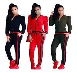 women joggers suits UK - Womens Casual Fashion Autumn Long Sleeved Two-piece Jogger Set Ladies Fall Tracksuit Sweat Suits