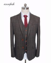 $enCountryForm.capitalKeyWord Australia - Custom Made Woolen dark brown Herringbone Tweed British style Mens suit tailor slim fit Blazer wedding men suit 3pcs S18101903