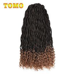 crochet braids 2019 - TOMO Mix Brown Ombre Crochet Braids Wavy Box Braids Roots Curly End Crochet Hair Kanekalon Synthetic Braiding Hair Exten