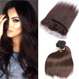 $enCountryForm.capitalKeyWord Australia - Virgin Peruvian Dark Brown Human Hair Wefts 4Pcs with Frontal Straight #4 Chocolate Brown 13x4 Lace Frontal Closure with Weave Bundles