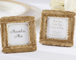 $enCountryForm.capitalKeyWord UK - 10pcs Mini Gold Feather Photo Frame For Wedding Baby Shower Party Birthday Favor Gift Souvenirs Souvenir