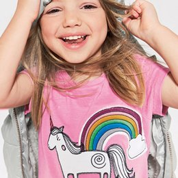girls horse clothes UK - Baby Girls Clothing cartton rainbow Horse Print pink T-Shirts For Girls baby girl Summer Top Kids Short Sleeve Clothes Baby T shirt