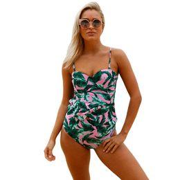 b4069f92b4b4e 2pcs Swimsuit Floral Print Flounce Push Up Tankini Women Summer Beach Swimwear  Bikini Set Monokini Bathing Suit