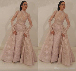 Sheer Bodice Sheath Prom Dresses NZ - 2019 High Neck Mermaid Prom Dresses With Detachable Train Blush Pink Full Lace Appliqued Illusion Bodice Long Sleeves Formal Evening Gown