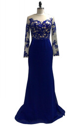 $enCountryForm.capitalKeyWord UK - Hot Royal Blue Long Chiffon Woman Formal Dresses Charming Long Sleeves Appliqued Prom Dress vestidos de festa