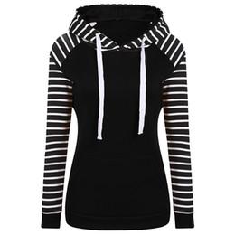 Discount black blocks - Women Casual Long Sleeve Hooded Stripe Color Blocking Sweatshirt Casual plus velvet warm top fashion New Arrival 2018