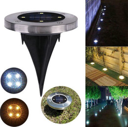 disk lamp 2019 - Waterproof Solar Powered 4LED Disk Lights Buried Light Outdoor Under Ground Lamp Stair Lights Lanterns 2 Colors OOA4792