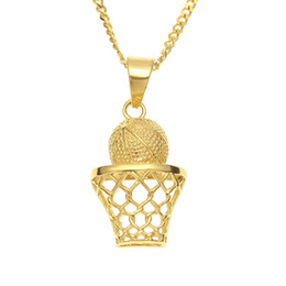 basketball jewelry for men UK - New Fashion Hip Hop Jewelry Necklace 316L Stainless Steel Gold Plated Rinestone Basketball Pendant Necklace for Men Women NL-611