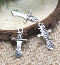 Knife charms online shopping - 30pcs dagger Charms silver tone knife dagger Charms pendant x13mm