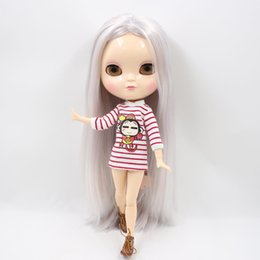 Discount bjd hair accessories - Dolls Accessories Dolls Nude ICY Doll Series No.280BL6909 1010 Silver mixed hair like Blyth with makeup,JOINT body,lower
