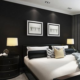 Discount simple drawings - Modern simple plain pure black color drawing matte black wallpaper hotel KTV restaurant works PVC wallpaper