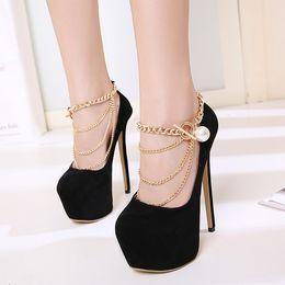 Luxury Chains Australia - 16cm Luxury Platform High Heels Gold Chain Black Pumps Fashion Ladies Prom Gown Shoes Size 35 to 40