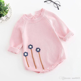 6d8cc18c4d56 New Autumn Infant Baby Knitted Rompers Girls Overalls Knitwear Sweater  Flowers Romper Children Toddlers Climb Clothes Rompers 4265