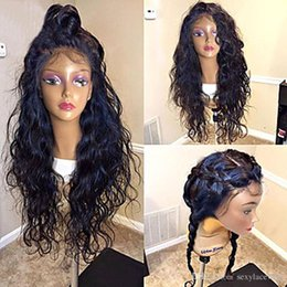 Long hair sexy women online shopping - Hot Sexy b Black Water Wavy Long Fiber Wigs with Baby Hair Heat Resistant Glueless Synthetic Lace Front Wigs for Black Women