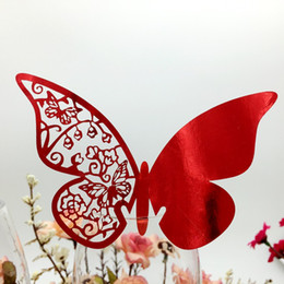 $enCountryForm.capitalKeyWord Australia - Laser Cut Place Cards With Butterfly Paper Cutting Name Cards For Party Decorations Seating Place Cards Weddings PC-B11