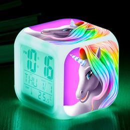 Wholesale 2018 new unicorn Alarm clock cartoon Colorful LED Rainbow horse Night light for Baby room Lamps 39 styles C5582