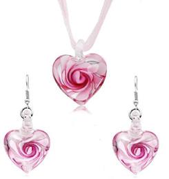 $enCountryForm.capitalKeyWord NZ - Heart With Flowers Inside Lampwork Murano Italian Venetian Glass Fashion Earrings & Necklace Jewelry Sets Handmade Jewelry Free Shipping