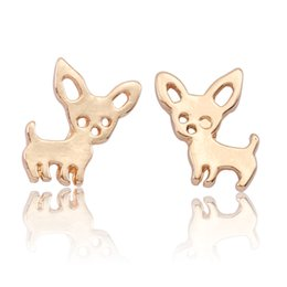 China Simple Pet Puppy Dog Earrings For Women Girls Lovely Tiny Gold Rose Gold Silver Metal Chihuahua Earings Studs Jewelry Brincos suppliers