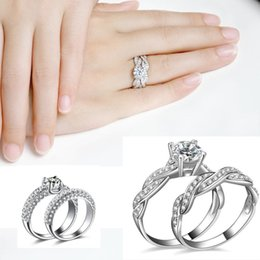 Discount rhodium plated cz - new Jewelry Silver Rings Rigant white k gold-plated finger ring Simulated Diamond crystal CZ diamond Rhinestone