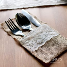 Discount vintage cutlery holder - 10pcs New style Jute Hessian Lace Burlap Cutlery Holder Pouch Rustic Wedding Tableware Decoration vintage wedding