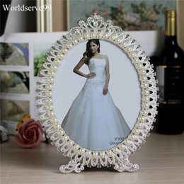Framed shower online shopping - Crystal Pearl Oval Wedding Photo Frame Metal Alloy Home Decor Bridal Baby Shower Birthday Gifts