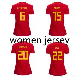 1bbc2a89d3d Thai 2018 World Cup Spain Women soccer jerseys INIESTA RAMOS lady football  shirt ISCO ASENSIO jersey SILVA camisas de futebol
