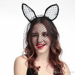 halloween cat accessories Canada - Halloween Party Lace Cat Ears Headband Headwear - Black White Sex Women Hair Headbands Wedding Photography Hair Hoop Accessories