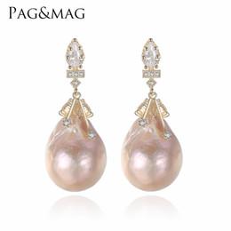 495cdfd3e316 PAGMAG marca barroco forma ovalada perlas naturales de agua dulce Stud  pendientes y plata 925 especial para mujeres joyería fina D1892005