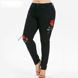 mom jeans UK - Plus Size 5XL Black Floral Side Lace Up Pencil Jeans Mom Big Size Female Flower Embroidered Skinny Denim Pants Femme