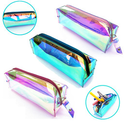 $enCountryForm.capitalKeyWord Canada - Brand New Laser Transparent PVC Pencil Case Cosmetics Bag Holographic Hologram Makeup Pouch Case Multiple Color