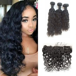 silk frontal hair 2019 - Silk Base Frontal with 3 pcs Hair Bundles Malaysian Human Hair Wet and Wavy Bundle with 13x4 Silk Frontal G-EASY discoun