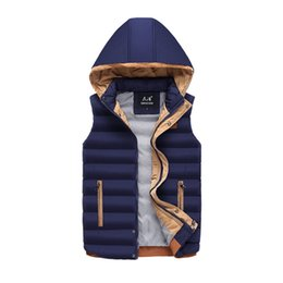Light cotton vests for men online shopping - 2018 New Cotton Thickening Mens Coat Winter Casual Warm Sleeveless Jacket For Men Light Waistcoat Collar Hooded Vest Male WFY24