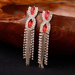 Jade Dresses Australia - YFJEWE 2018 New Fashion Women Red Gem Quality Austrian Tassel Design Long Formal Dress Ladies Earrings Night Club Gifts E060