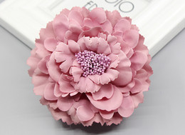 Fabric Hair Brooches Australia - 2016 trendy Fabric Blooming peony Flower Corsage Brooch woman Hair Decorations & Brooch wedding party Hair Clip Bridal Wedding