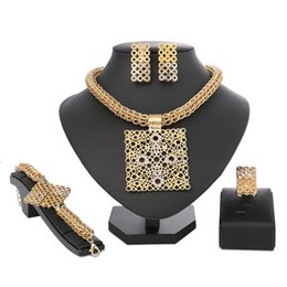 african big bead necklaces 2019 - Fashion Dubai Jewelry Sets Gold Color African Beads Jewelry Set For Women Wedding Geometric Indian Ethiopian big chain p