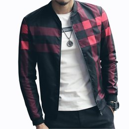 27db540f33 Hotsale Plaid Jacket Men Bomber Jacket Fashion Slim Mens jackets and Coats  Chaquetas Hombres Jaquetas Bomber Plus Size 4XL 5XL S914