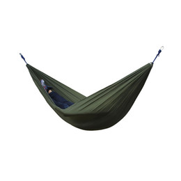 Discount camp swing hammock - 2 People Portable Parachute Hammock Outdoor Survival Camping Hammocks Garden Leisure Travel Double hanging Swing 270cmx1