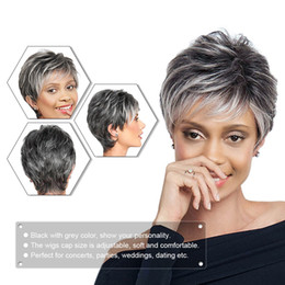 straight synthetic wigs NZ - Party Decoration Straight Short Hair Wig Synthetic Fibre Heat Resistant Natural Black with Grey Women Easter Party Accessories