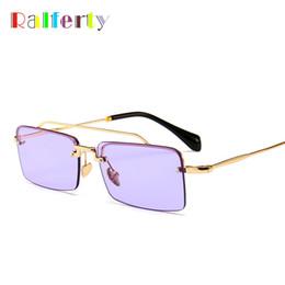 Vente en gros Ralferty Vintage Lunettes de soleil carrées Femmes Designer Rétro Petites lunettes de soleil UV400 Lunettes de protection violettes lunette de soleil femme CSMU55T