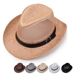 Cowboy deCorations online shopping - Network Headwear Cap Splicing Outdoors Creative Cowboy Straw Hats Ventilation Cool Sun Shading Sunscreen Casquette Mens Designer yg jj