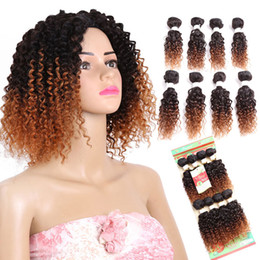 Hair extension sewed online shopping - 8 inch Jerry Curl Synthetic Hair Weave Sew in Hair Extensions Ombre Hair Weft pack pack full a head